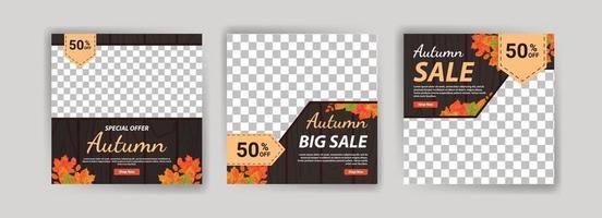 venda de outono. grande venda de outono. mega venda de outono. vetor