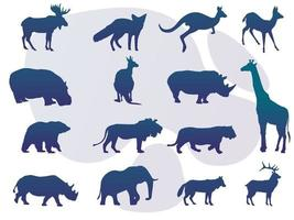 coleção de silhueta de animais com logotipo vetor