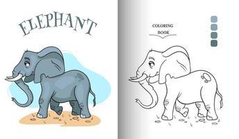 elefante engraçado personagem animal na página para colorir de estilo cartoon. vetor