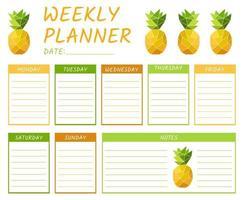 modelo de planejador semanal de calendário fofo com abacaxi vetor