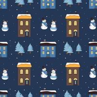 padrão sem emenda com casas, bonecos de neve e árvores de natal vetor