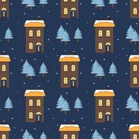 padrão sem emenda com casas. impressão de férias, decorações de ano novo vetor