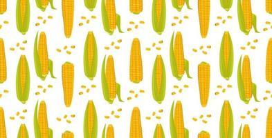padrão sem emenda com espigas de milho. colheita de impressão vetor