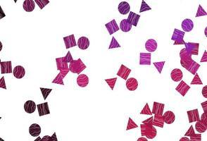 layout de vetor rosa claro com círculos, linhas, retângulos.