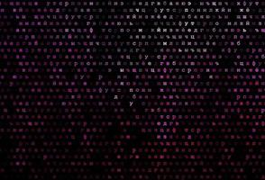 textura vector rosa escuro com caracteres abc.