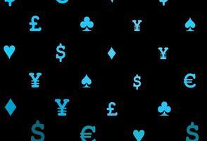 capa de vetor azul escuro com símbolos de aposta.