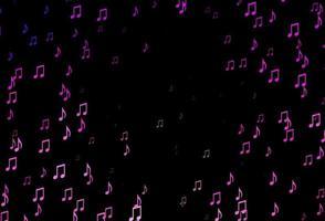 modelo de vetor rosa escuro com símbolos musicais.