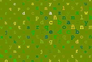 capa de vetor verde e amarelo claro com símbolos em inglês.
