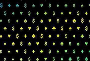modelo de vetor verde e amarelo escuro com símbolos de pôquer.