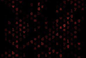 textura vector laranja escuro com caracteres abc.