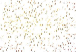 textura de vetor laranja clara com notas musicais.