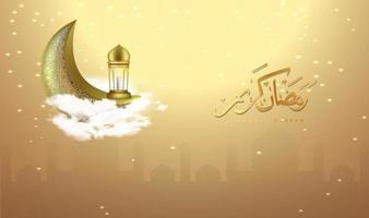 fundo ramadan kareem com lua crescente vetor