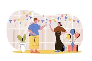 ilustração da web da festa em casa vetor