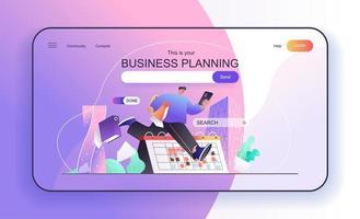 conceito de planejamento de negócios para modelo de página de destino vetor