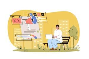 ilustração de publicidade na web vetor