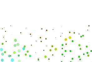 layout de vetor verde e amarelo claro com formas de círculo.