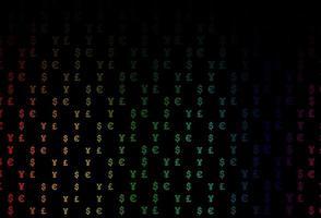 textura multicolor escura do vetor do arco-íris com símbolos financeiros.