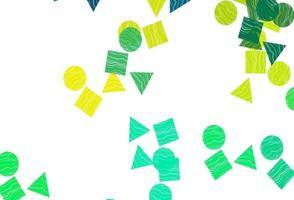 fundo vector verde, amarelo claro com triângulos, círculos, cubos.