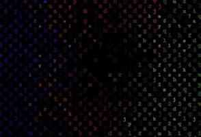 padrão de vetor verde escuro e vermelho com símbolos abc.