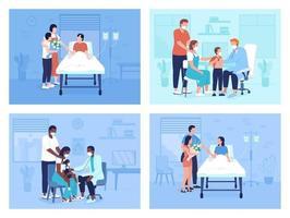 conjunto de ilustrações vetoriais de cores planas em instalações de saúde vetor