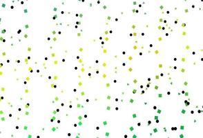 layout de vetor verde e amarelo claro com círculos, linhas, retângulos.