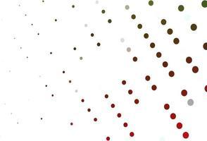 padrão de vetor verde e vermelho claro com esferas.