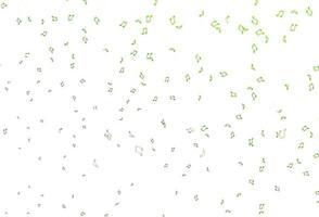 textura de vetor verde claro com notas musicais.