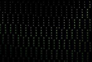 padrão de vetor verde escuro com símbolos abc.