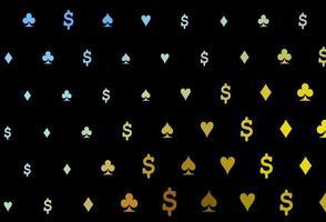 padrão de vetor azul escuro, amarelo com símbolo de cartas.