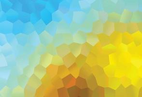 pano de fundo de vetor azul e amarelo claro com hexágonos.