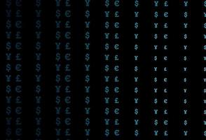 textura vector azul escuro com símbolos financeiros.