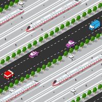 trem rápido de alta velocidade moderno. ilustração 3D isométrica plana em vetor