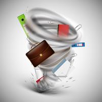 Tornado de escritório com ferramentas, ilustração vetorial vetor