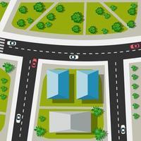 vista superior do cruzamento urbano com carros vetor