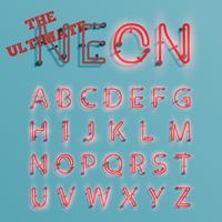 Personagem de néon vermelho realista typeset, vector