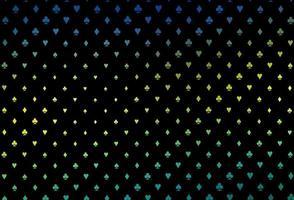modelo de vetor azul escuro e amarelo com símbolos de pôquer.