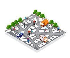 o mapa de navegação da cidade com placas e direções vetor