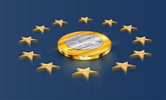 Estrelas da bandeira da União Europeia e dinheiro (dólar), vetor