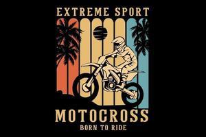 design de silhueta de motocross para esportes radicais vetor