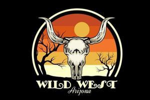 Design de merchandise do oeste selvagem do arizona com crânio vetor