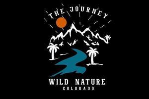 a jornada natureza selvagem colorado ilustração desenhada à mão design vetor