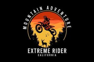 desenho de ilustração de cavaleiro extremo de aventura de montanha vetor