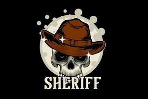 desenho de ilustração do xerife com crânio vetor