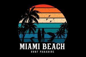 projeto da maquete da silhueta do paraíso do surf em Miami Beach vetor