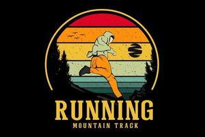 correndo desenho de ilustração de trilha de montanha vetor