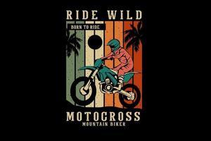 desenho de silhueta de motocross selvagem vetor