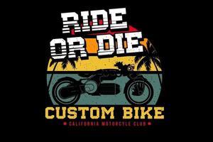 design personalizado da silhueta do clube da califórnia para bicicletas vetor