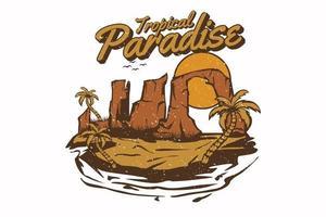 paraíso tropical vintage mão desenhada ilustração design vetor
