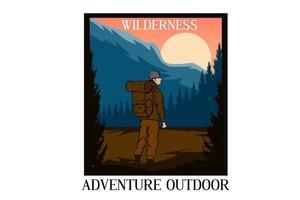 desenho de ilustração ao ar livre de aventura no deserto vetor