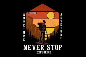 aventura nunca pare de explorar design de ilustração desenhada à mão vetor